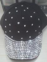 Promotional white rhinestone baseball cap for men and women new design 6-panel cap fashion hat