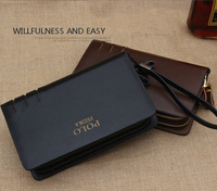 2014 Hot sale Brand Men's Business Day clutches Genuine Leather Wallet Boy's Casual Big Purse Birthday Gift free shipping