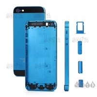 Free Shipping For iPhone 5 Plated Matte Metal Full Housing Faceplates w/ Side Buttons and SIM Card Tray - Black / Baby Blue