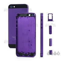 Free Shipping For iPhone 5 Plated Matte Metal Full Housing Faceplates w/ Side Buttons and SIM Card Tray - Black / Purple