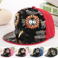 High quality unisex sanpback cap punk style rivet hip-hop spike hat bowl rivet flat brim hat rock