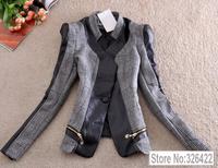 Autumn Winter Outerwear Fashion Zipper Pu Leather Patchwork Slim Ladies Coat Suit Jacket And Blazer Women Branco Feminino 2014