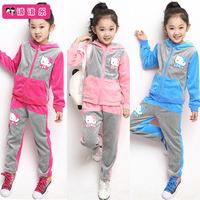 Hello Kitty Girl's Tracksuits Children Velvet Kitty cat sport suits Girl's cat Hooded sweater + cat pp pants free shipping