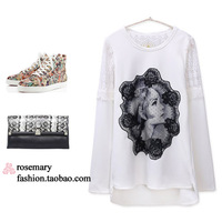 Spring 2014 Brand spring women's fashion plus size long design long-sleeve t-shirt female