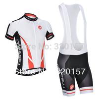 2014 sportwear  ropa ciclismo Men's white castelli Cycling jersey bike clothing maillot wear t-shirts jersey +bib shorts set