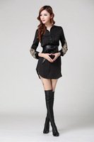 2014 New Women's high-end embroidery European and American big yards long section Ms. shirts Fast Shipping