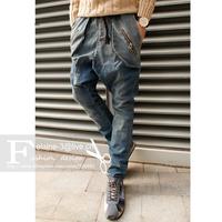 Guaranteed High Quality Male  Designer Hiphop Drop Crotch Street Jeans Men Harem Dark Wash Baggy Pants Free Size Suggestion