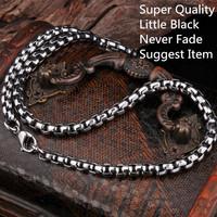 Wholesale 10 pieces/lot Super Quality Little Black Popular Men's Steel Pendant Necklace Chain OEM&ODM Jewelry  TGXL008