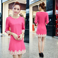 free shipping 2014 spring fashion gentlewomen slim elegant lace three quarter sleeve medium-long ol one-piece dress