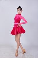 Sexy Kid girl Custom-size Latin Perform Dress 4~15T Mixed Colors Royal blue/Hot pink/Black