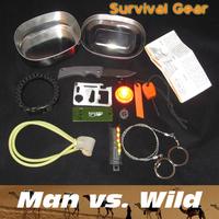 Outdoor Survival Kits Gear camping Bear Survival Knife,Survival Whistle,Flint Fire Starter,SOS light lamp,card knife,paracord