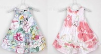 Free shipping flower brand high quality cotton dress for girls green and pink color, light and bright two layers