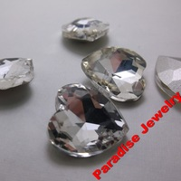 Crystal Heart Rhinestones 16*16mm Point back Silver Plated Special Rhinestones Glass Made 50ps