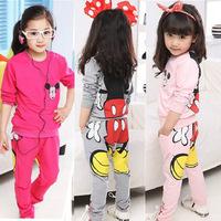 Clothing set kids clothes sets sport suit children baby girl minnie mouse clothes long sleeve T shirt + pants set autumn 2014
