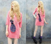 Free Shipping Spring 2014 witch affixed cloth dress bow