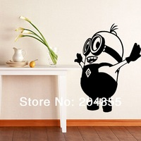 "Free shipping The Personality stickers of ""small Yellow people 3 ""Home Wall Decoration PVC Paper Wall  Sticker--size large"