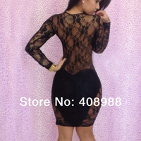 Womens Fashion Clubwear Outfit Hollow Lace Long Sleeve Slim Bandage Dress
