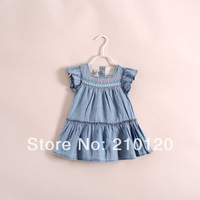 2014 New hot sale summer  girl cowboy  dress  have age 2-7 years old