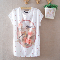 2014 new summer women's clothing short-sleeved lady girls floral woman t-shirt Free Size Bust 100cm