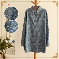 Lovable Secret - Denim loose long-sleeve medium-long shirt top 2014 spring female 12101  free shipping