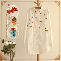 Lovable Secret - Medium-long long-sleeve turn-down collar embroidery white shirt top 2014 spring female 12147  free shipping