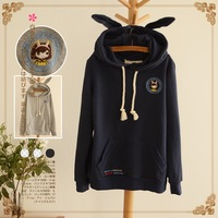 Lovable Secret - Casual loose short design pullover with a hood sweatshirt outerwear 2014 spring women's 12044  free shipping