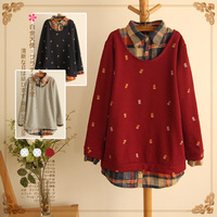 Lovable Secret - Medium-long plus velvet thickening loose pullover sweatshirt outerwear 2013 autumn and winter women 9304