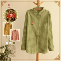 Lovable Secret - Small fresh long-sleeve basic turn-down collar plaid shirt top 2014 spring 12177  free shipping