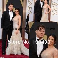 For Russian Brazilian big size women 2014 Jenna Dewan Tatum 86th Oscar awards Nude celebrity dresses short sleeves Red carpet