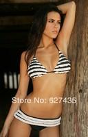 Wholesale!FREE SHIPPING!(10pieces)100% Brand New Women's Sexy lingerie,white-black Ruffled Bikini Set,LC4148