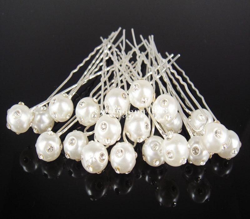 100Pcs Wedding Bridal White Pearl Crystal Hair Pin Hair Accessory A-1(China (Mainland))