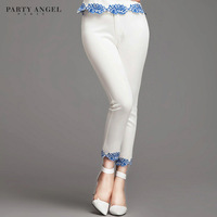 2014 spring pants blue and white porcelain national trend vintage embroidered white slim pencil pants