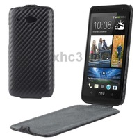 Carbon Fiber Texture Vertical Flip Leather Case for HTC Desire 601 Black