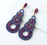 N-Z Hot Selling Water Drop Double Layers Charm Alloy Statement Vintage Earrings Exclusive Design Long Big Earring E010432
