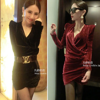 2014 new nightclub sexy dress for women Deep V collar shrug velvet backing slim mini one-piece dress sexy ladies party dress