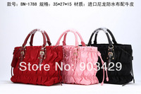 BN-1778 women's 2014 classic brand new designer crumple import nylon + leather super A quality Satchel Bags purse handbags bag