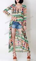 SL Casual Women Multi-Color Dip Dye Floral Shirred Waist Chiffon Long Cardigan Shirt Blouse Maxi Dress