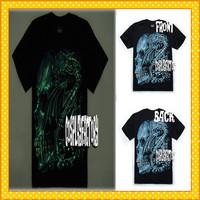 Free Shipping O-Neck Hip Hop Skull Men Fluorescent 3D Plus Size Cotton Tshirt,0.6kg/pc