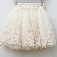 skirt new 2014 saia korean full lace embroidery tulle skirt Mini skirts fashion women lace skirts basic SK2024