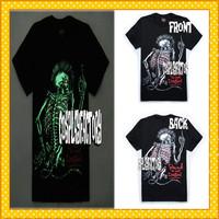 Free Shipping O-Neck Punk Skull Men Fluorescent 3D Plus Size Cotton Tshirt,0.6kg/pc