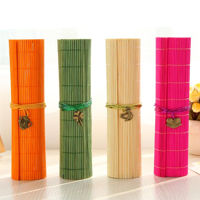 Stationery circle bamboo stationery box candy color pencil box prize(China (Mainland))
