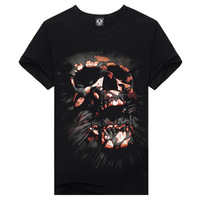 2014 Hot High Quality Short-Sleeve Demon Skull Half Slevee Punk Tees For Men 100% Cotton Fashion Style T-Shirt