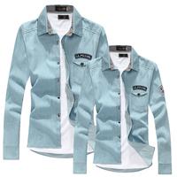 Free Shipping 2013 Men Stylish Vintage Slim Fit Denim shirts, Mens Casual Long Sleeve Jean Shirts Asia Size S M L XL XXL XXXL