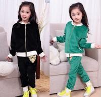 Hot Selling 2014 New Arrival Spring Autumn 2 PCS Coat+Pants kids Velvet Soft Clothing girls suit Free shipping