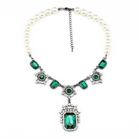 Green stone pearls exaggerated necklace costume jewelry women accessories free shipping
