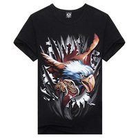 Sals 2014 High Quality Personalized Sports Male Short-Sleeve T-Shirt Men's Clothing 3d Eagle Tees O-Neck Black T-Shirts