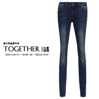 New arrival 2014 female jeans slim skinny pants Dark Blue women's pencil pants boot cut jeans long trousers