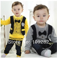 2014 Baby cltohing set 2pcs boy striped casual suit little kids fashion tracksuit with tie new korean fashion design