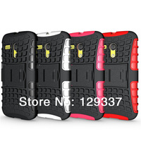 MOQ:1pcs Kick Stand Silicone Hard Case Defender Heavy Duty Strong Armor Combo Robot Cover For Motorola Moto G XT1031/XT1032
