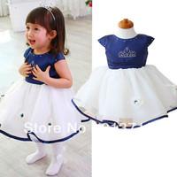 Princess dress children's dress clothes for girls dress blue Diamond Crown tutu dress baby girls birthday party gifts free ship